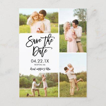 Chic White Save The Date 4-Photo Collage Announcement
