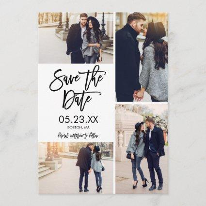 Chic White Save The Date 4-Photo Collage Cards