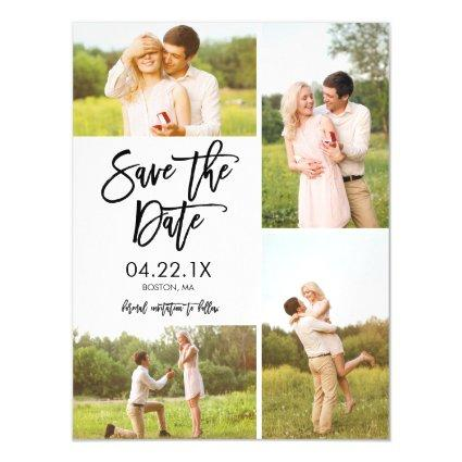 Chic White Save The Date 4-Photo Collage Magnets