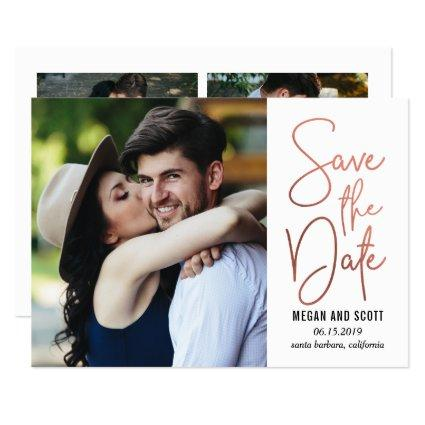 Chic Writing EDITABLE COLOR Save The Date RoseGold