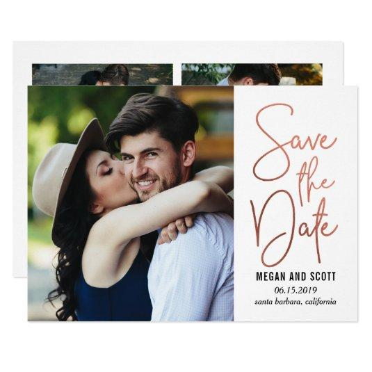 Chic Writing EDITABLE COLOR Save The Date RoseGold Card
