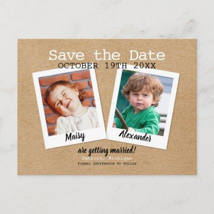 Childhood Photos Rustic Boho Save the Date Announcement