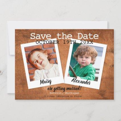 Childhood Photos Vintage Wood Rustic Save The Date