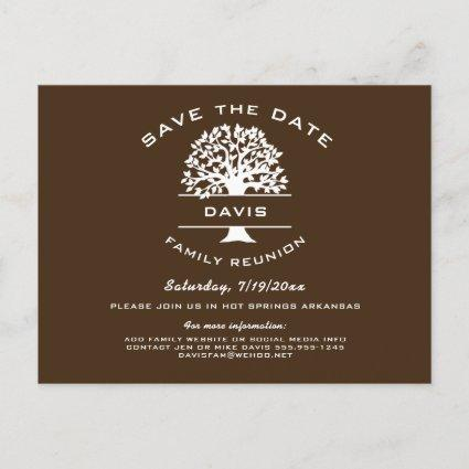Chocolate Brown Family Tree Reunion Save the Date Announcement