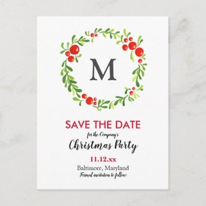 Christmas Berries Monogram | Holiday Party Announcements Cards