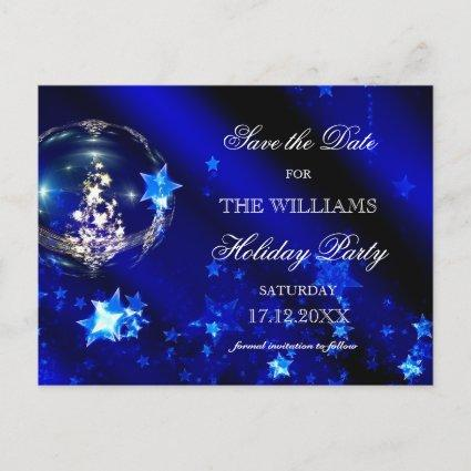 Christmas Blue Baubles Holiday Party Save The Date Announcements Cards