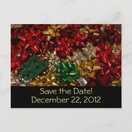 Christmas Bows Save the Date Cards
