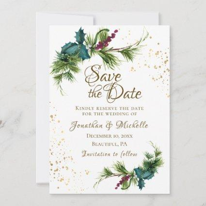 Christmas Evergreen Red Berries Winter Wedding Save The Date