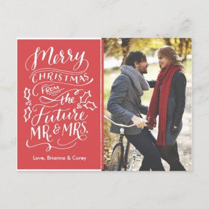 Christmas Future Mr. and Mrs. Photo Save The Date Holiday Cards
