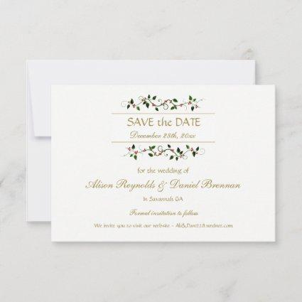 Christmas Holiday Holly Ivy Wedding Save the Date