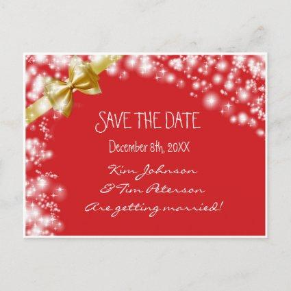 Christmas Holiday Red & Bow Save Date