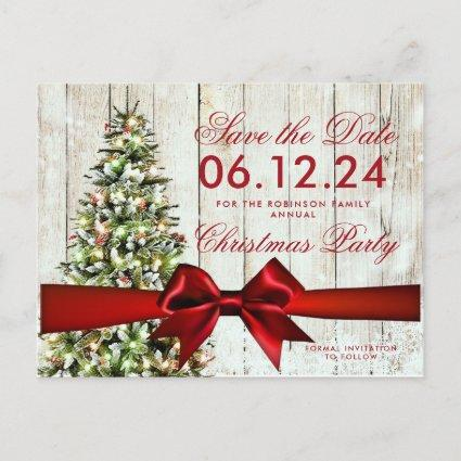 Christmas Holiday Save Date | Tree & Red Ribbon Announcement