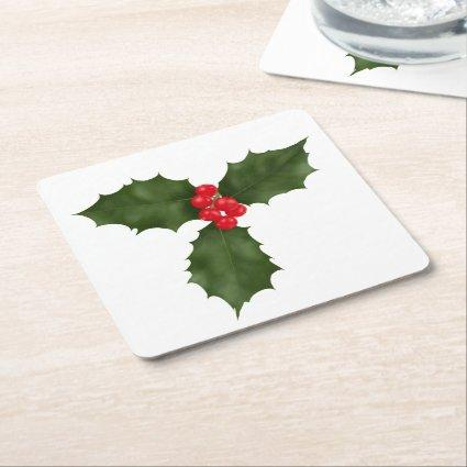 Christmas Holly Square Paper Coaster