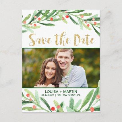 Christmas Holly Wreath Save the Date Photo Announcement