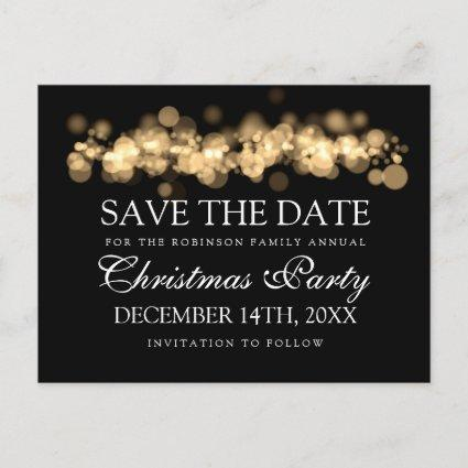 Christmas Party Save The Date Gold Bokeh Lights Announcement