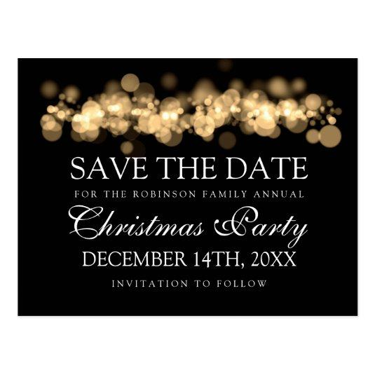 Christmas Save The Date Cards.Christmas Party Save The Date Gold Bokeh Lights Save The