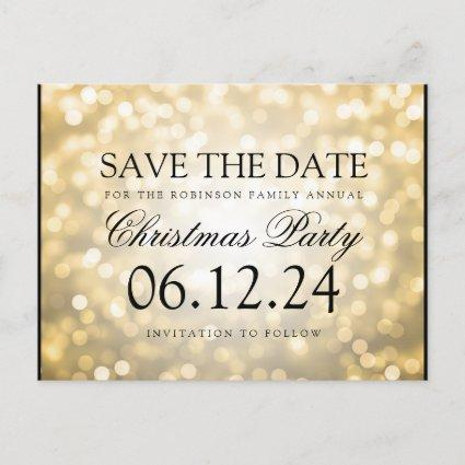 Christmas Party Save The Date Gold Glitter Lights Announcement