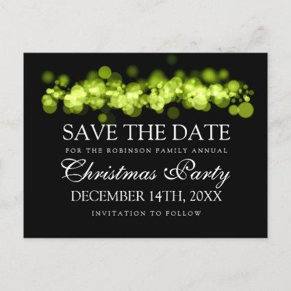 Christmas Party Save The Date Green Bokeh Lights Announcements Cards