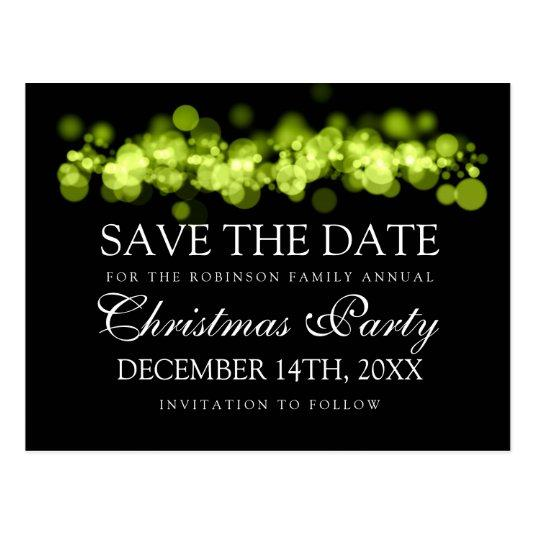 Christmas Party Save The Date Green Bokeh Lights