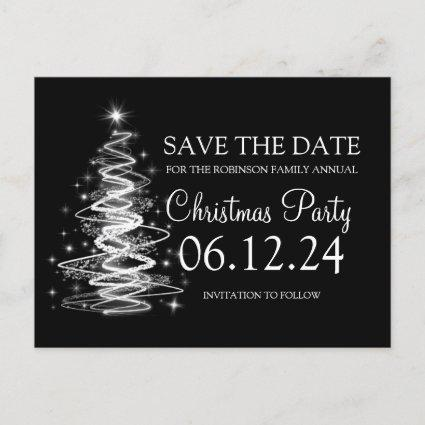 Christmas Party Save The Date Sparkling Tree Black Announcement