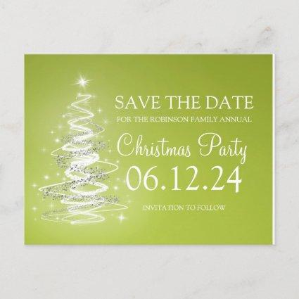 Christmas Party Save The Date Sparkling Tree Green Announcement