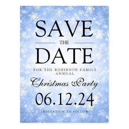 christmas party save the date winter blue cards save the date cards