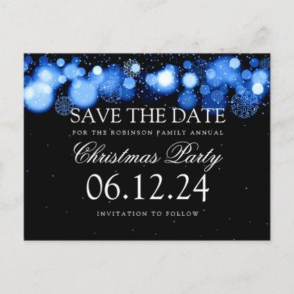 Christmas Party Save The Date Winter Wonder Blue Announcement