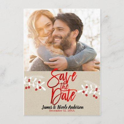 Christmas Red Foil Modern Save the Date Photo