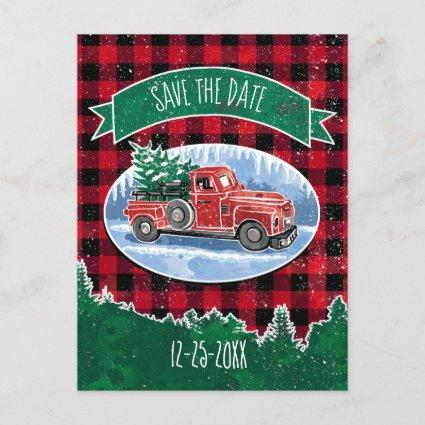 Christmas Red Vintage Truck Save The Date Invitation