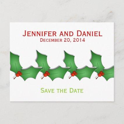 Christmas Save the Date Announcements Holly