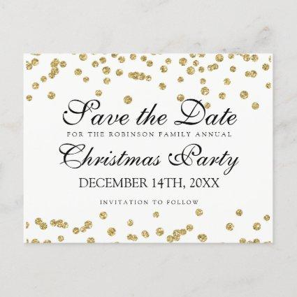 Christmas Save The Date Gold Glitter Confetti Announcement