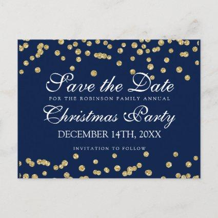 Christmas Save The Date Gold Glitter Confetti Navy Announcement
