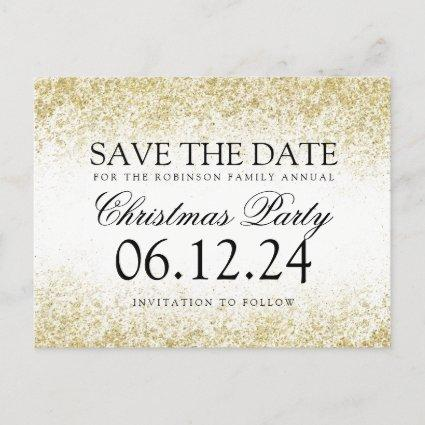 Christmas Save The Date Gold Glitter Dust White Announcements Cards