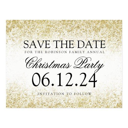 Christmas Save The Date Gold Glitter Dust White