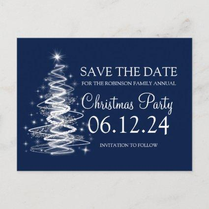 Christmas Save The Date Sparkling Tree Navy Blue Announcement