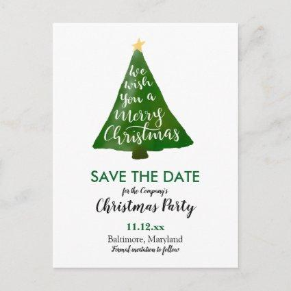 Christmas Tree Watercolor Typography Holiday Party Announcements Cards
