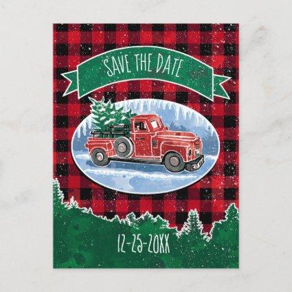 Christmas Vintage Truck Save The Date Announcements Cards