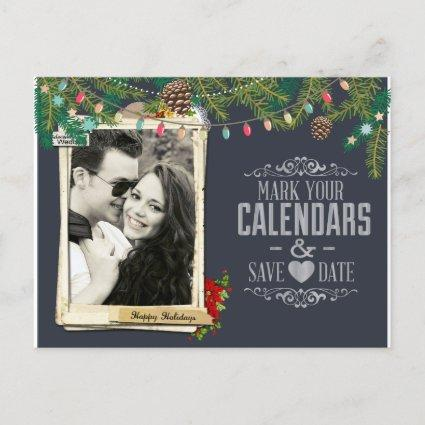 Christmas Wedding Chalkboard Save the Date Announcement