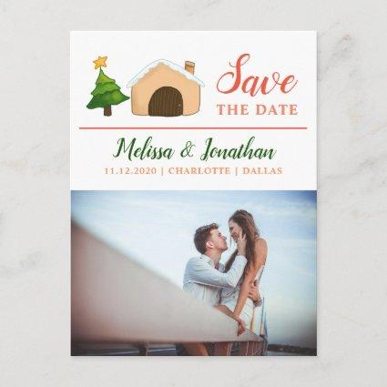 Christmas Wedding Cottage Tree | Save The Date Announcement