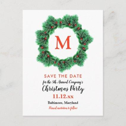 Christmas Wreath | Monogram | Holiday Party Announcements Cards
