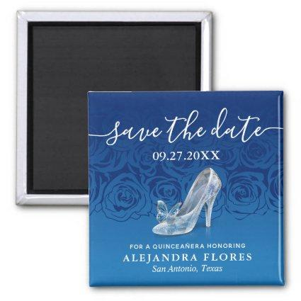 Cinderella Slipper Blue Quinceanera Save the Date Magnet