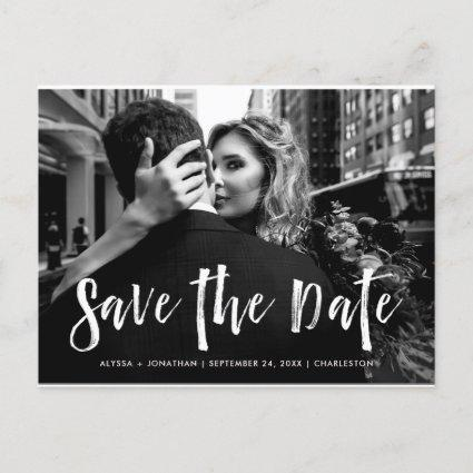 City Style   White Script and Photo Save the Date Invitation