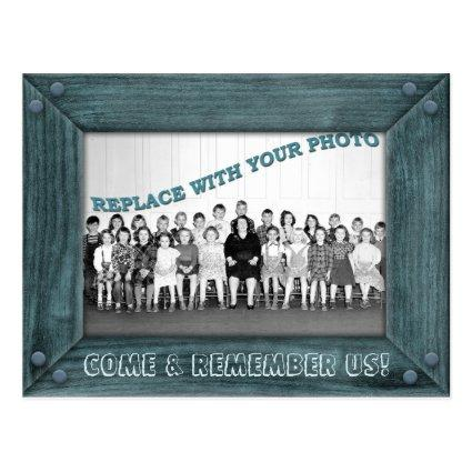 Class Reunion Invitation with Old Wood Frame Cards