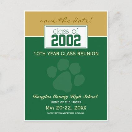 Class Reunion Save-the-Date Announcements (green)