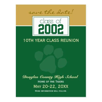 Class Reunion Save-the-Date Announcements (green) Cards