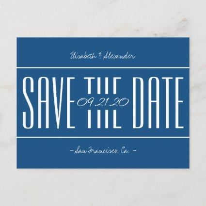 Classic blue retro typography wedding save date announcement