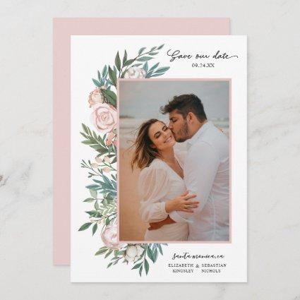 Classic Elegant Painted Floral 2 Photo | White Save The Date