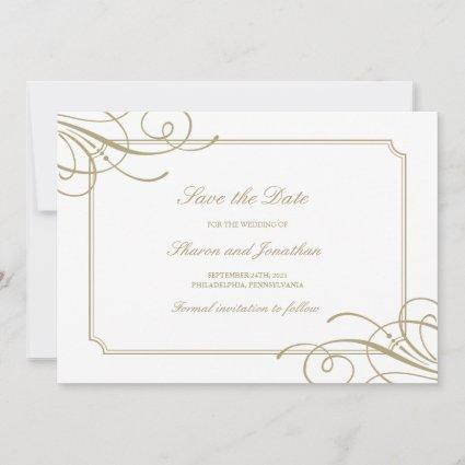 Classic Gold Frame Luxury Wedding Save The Date
