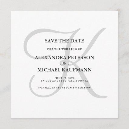Classic Gray Monogram Save the Date