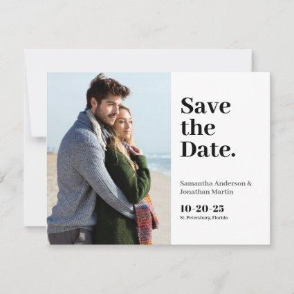 Classic Modern Budget Photo Save the Date